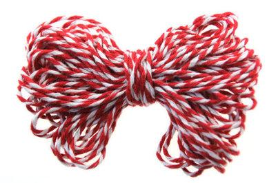 10 meter katoen touw rood-wit