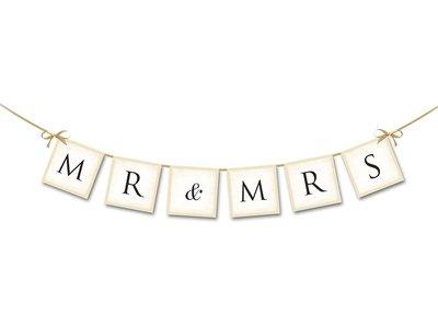 Slinger Mr & Mrs met satijn lint
