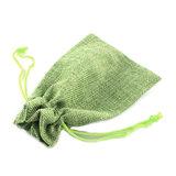 Jute zakje lime groen 9.5 x 13.5 cm