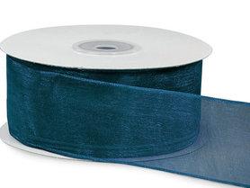 Organza lint met ijzerdraad 25 mm breed donker blauw