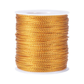 Gevlochten metallic rayon draad 2 mm goud