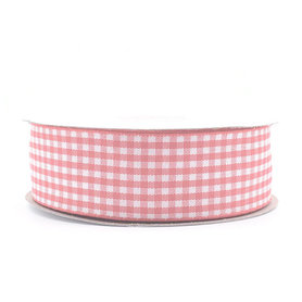 Geruit lint roze 2.5 cm breed 25 meter rol