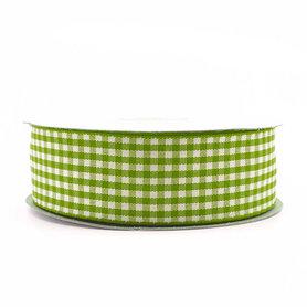 Geruit lint lime groen 2.5 cm breed 25 meter rol