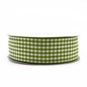 Geruit lint groen 2.5 cm breed 25 meter rol