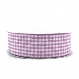 Geruit lint lavendel 2.5 cm breed 25 meter rol