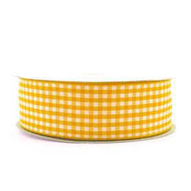 Geruit lint geel 2.5 cm breed 25 meter rol