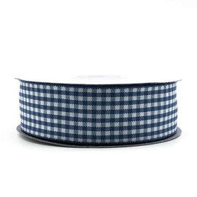 Geruit lint donker blauw 2.5 cm breed 25 meter rol