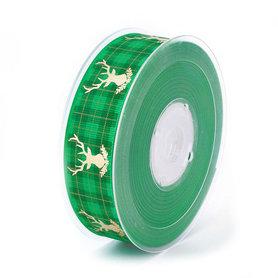 Kerstlint ruitjes groen groen hert goud 25 mm breed