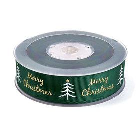 Kerstlint groen merry christmas kerstboom 25 mm breed