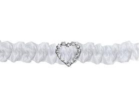Kousenband zilveren strass hartje
