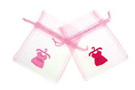 Organza zakje licht roze met satijn jurkje roze