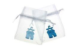 Organza zakje wit met satijn broekje blauw