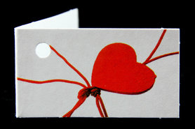 Kaartjes gelukspoppetje hartje rood
