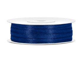 Donker blauw satijn lint 3 mm breed