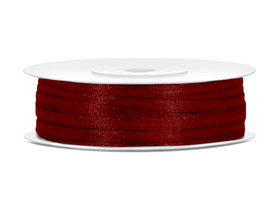 Bordeaux rood satijn lint 3 mm breed