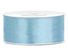 Licht blauw satijn lint 25 mm breed