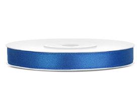 Blauw satijn lint 6 mm breed