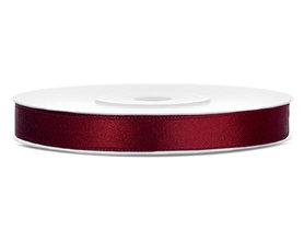 Bordeaux rood satijn lint 6 mm breed