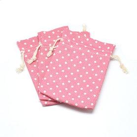 Katoenen zakjes roze met stipjes