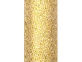 Tule lint goud glitter 15 cm breed