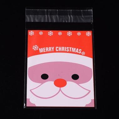 Cellofaan zakjes met plakstrip kerstman hoofd