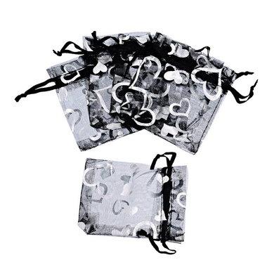 Organza zakjes zwart met zilver hartjes
