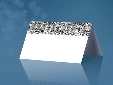 25 stuks tafel kaartje wit zwart ornament