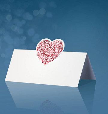 25 stuks tafel kaartje met rood hartje