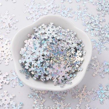 Kerst confetti strooimix ijskristal zilver