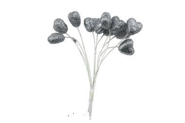 Glitter hartjes zilver
