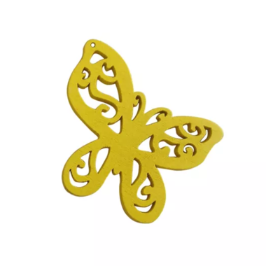 Houten vlinder geel