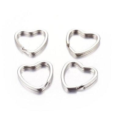 Sleutelhanger ringen hartje 10 stuks