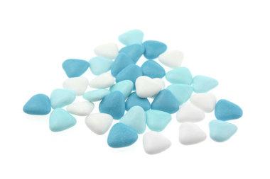 Doopsuiker hartvormig mini mix blauw