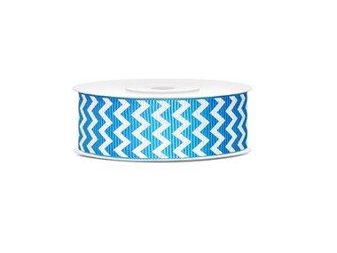 Grosgrain lint 25 mm Aqua - wit zigzag