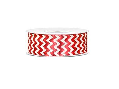 Grosgrain lint 25 mm Rood - wit zigzag