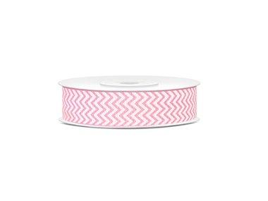 Grosgrain lint 18 mm breed Licht roze met wit zigzag patroon