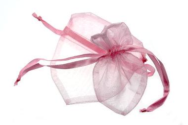 Organza zakje hartvormig Roze