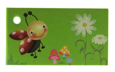 10 Kaartjes Lieveheersbeestje groen