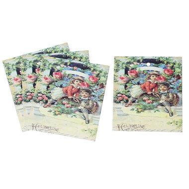 10 labels vintage jongen en meisje met bloemen