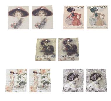 10 labels vintage mix lady