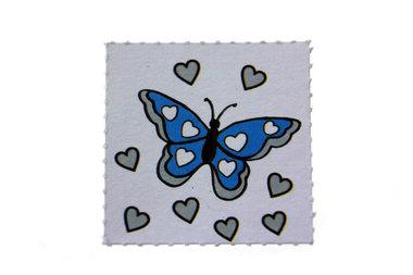 10 Labels vlinder Aqua