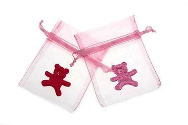 Organza zakje licht roze met satijn beertje roze