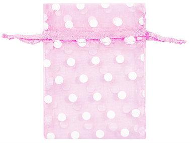 Organza zakjes roze met witte stippen