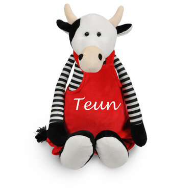 Geboorteknuffel koe met tuinbroek