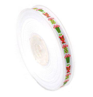 Kerstlint kado wit 9 mm breed