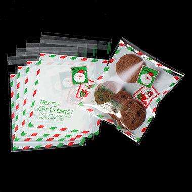 10 cellofaan zakjes met plakstrip kerstman wit rood groen