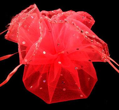 Organza cirkel Rood met stipje