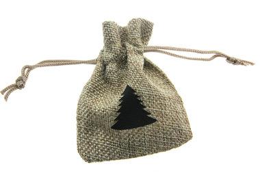 Jute zakjes naturel kerstboom zwart