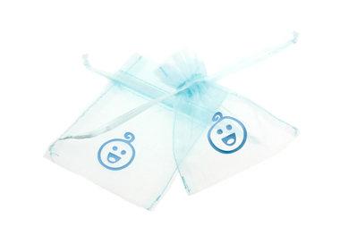 Organza zakjes licht blauw met baby hoofdje