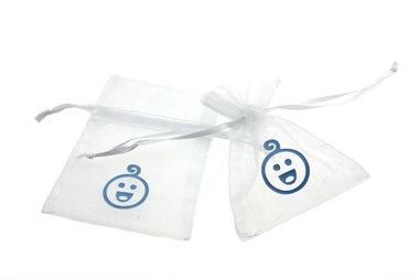 Organza zakjes wit met baby hoofdje